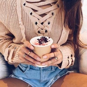 Eyelet Front Lace-up Taupe Pullover Sweater!